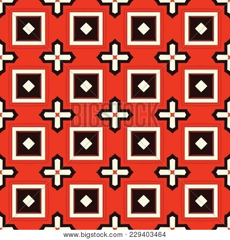 Seamless Illustrated Pattern Made Of Abstract Elements In Beige, Red, Brown And Black