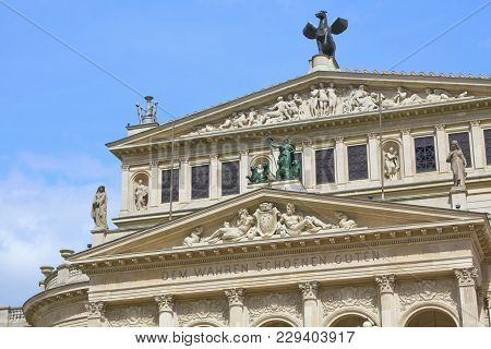 Frankfurt Am Main, Germany - 19. April 2012: Theatre (alte Oper) In Frankfurt Centre. The Visitors A