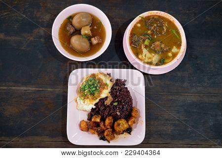 Set Of Thai Food Eating With Ricebury (helthy Food), Top View