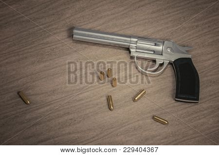 Crime Scene. Gun With Many Bullets On Wooden Background. 3d Rendered Illustration.
