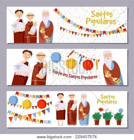 "Set Of 3 Universal Horizontal Banners For Portuguese Festival ""santos Populares"" ( Popular Saints' )"