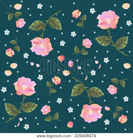 Endless Vector Pattern With Roses And Forget Me Not Flowers Isolated On Dark Background. Retro Style