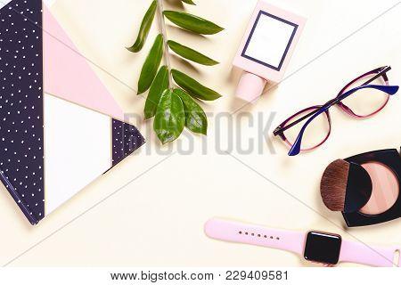 Fashion Women Accessories. Pastel Colors. Trendy Glasses, Perfume, Powder, Flowers.