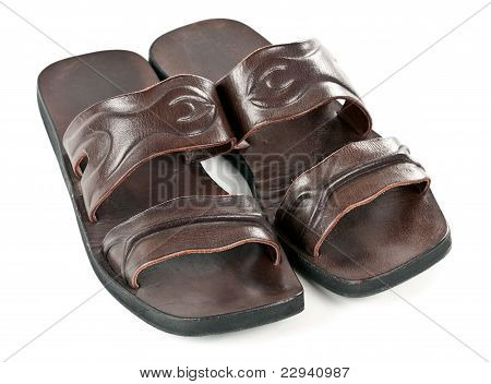 A Pair Of Leather Slippers For Men