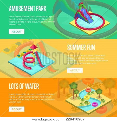 Amusement Park Horizontal Flyers. Outdoor Funny Relax And Activity, Summer Time Family Vacation In A