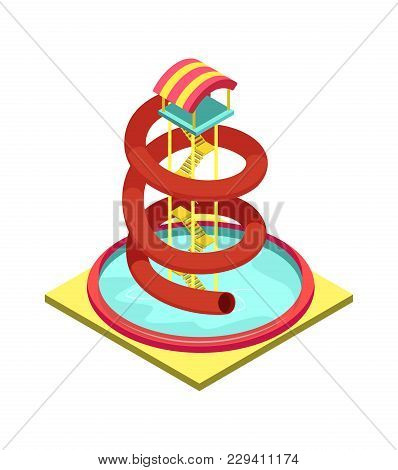 Colorful Aqua Park Water Tube Isometric 3d Element. Outdoor Funny Relax And Activity, Summertime Fam