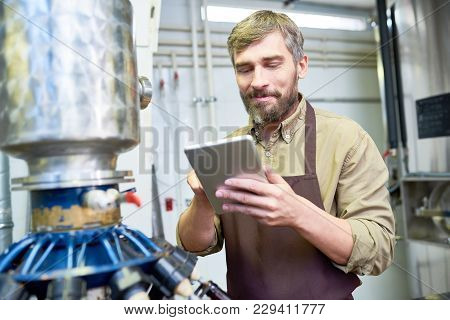 Confident Middle-aged Brewer Wearing Apron Using Digital Tablet While Carrying Out Inspection At Mod