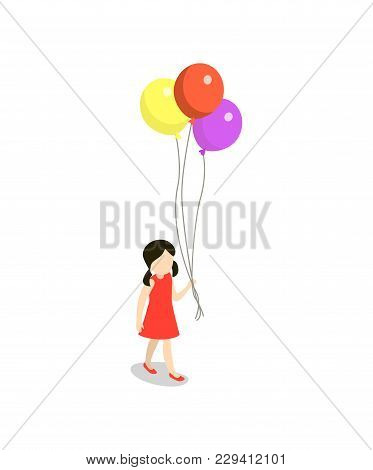 Little Girl With Colorful Air Balls Isometric 3d Element. Children In Amusement Park Object, Family