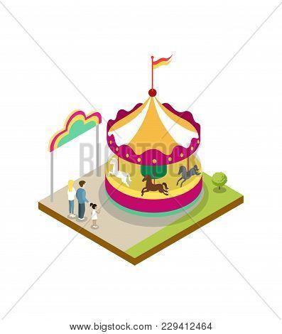 Kids Carousel Isometric 3d Element. Amusement Park Architecture And Entertainment, Family Rest Vecto