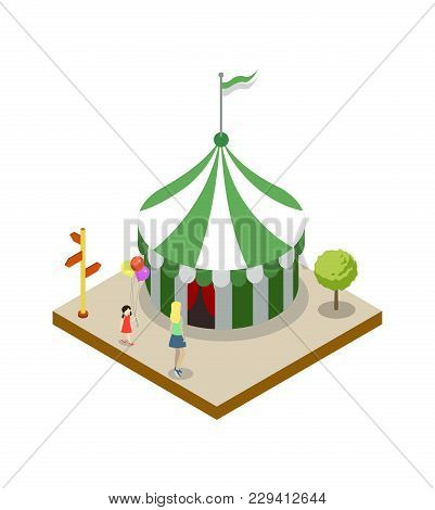 Striped Circus Tent Isometric 3d Element. Amusement Park Architecture And Entertainment, Family Rest