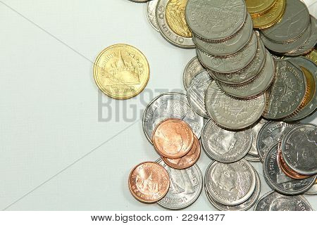 Pile of coins.