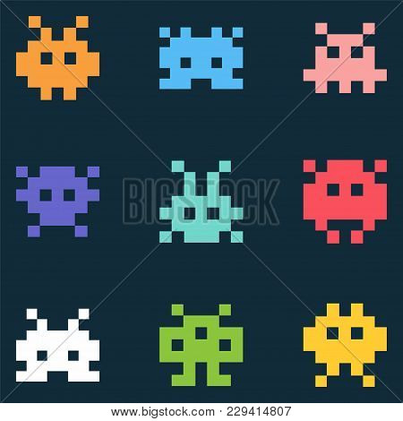 Pixel Monsters. Vector Icon Set On Black Background