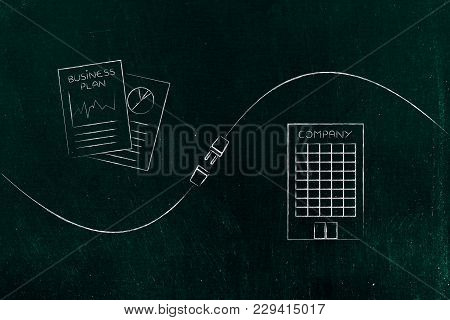 Connect Your Business With Success Conceptual Illustration: Business Plan Documents And Company Head
