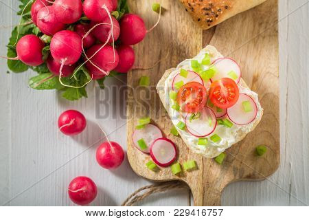 Bio Sandwich With Fromage Cheese And Cherry Tomatoes