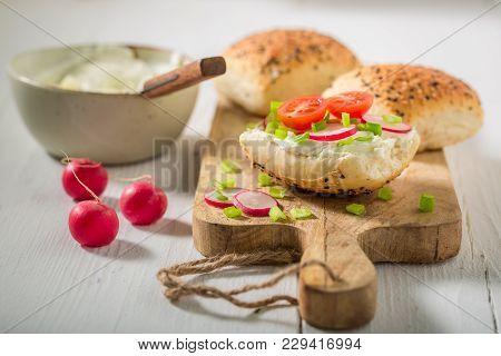 Fresh Sandwich With Radish, Creamy Cheese And Tomatoes