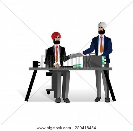 Indian Bearded Businessmen Conclude A Contract In Office. Corporate Business People Isolated Vector