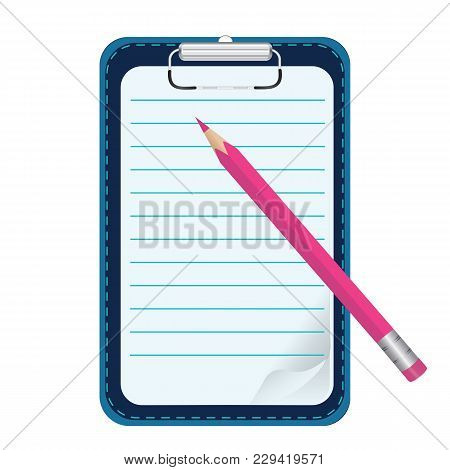 Clipboard - Lined Leaf With Curved Corner - Pencil Pink - Isolated On White Background - Vector