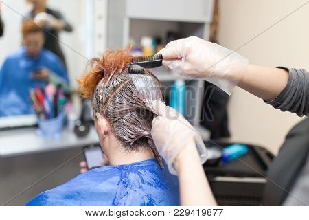 Hair Coloring In The Beauty Salon . Photos In The Studio
