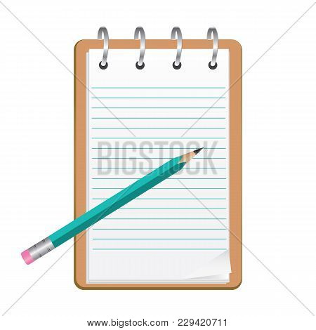Clipboard With Blank Sheets Of Paper - Pencil - Isolated On White Background - Vector