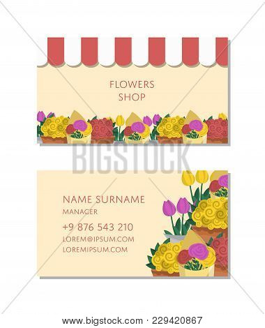 Flowers Shop Business Card With Flower Bouquets. Corporate Identity Design For Floral Design Studio,