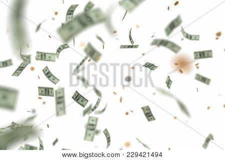 Money Raining And Falling Down. Isolated On White Background. 3d Rendered Illustration.