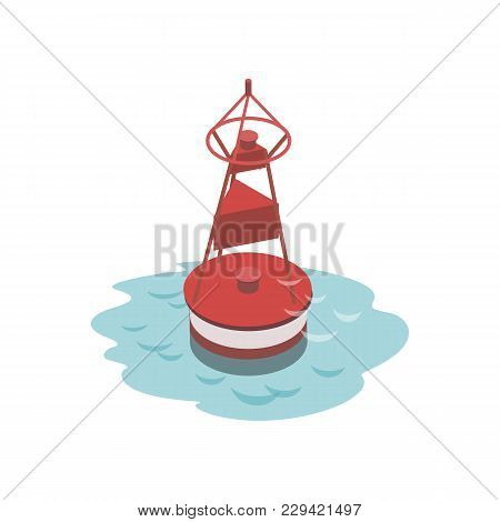 Navigational Buoy Isometric 3d Element. Sea Shipping Logistics, Commercial World Marine Delivery, Fr