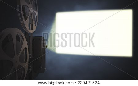 Vintage Movie Projector Is Projecting Blank Screen On Wall. 3d Rendered Illustration.