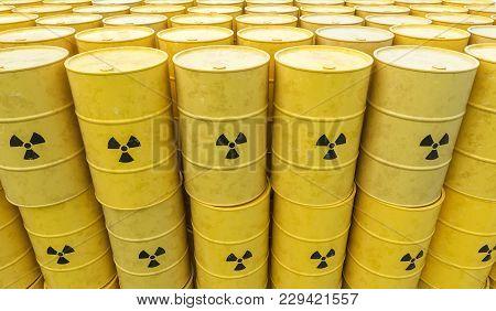 Many Radioactive Waste Barrels. Nuclear Waste Dumping Concept. 3d Rendered Illustration.