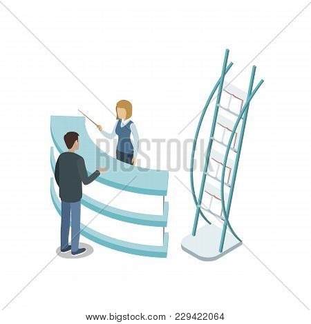 Reception Hall Isometric 3d Element. Information And Exhibition Ad Stand With Manager In Business Ce