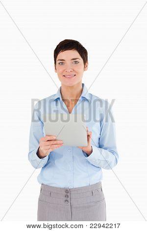 Portrait Of A Businesswoman Holding A Document