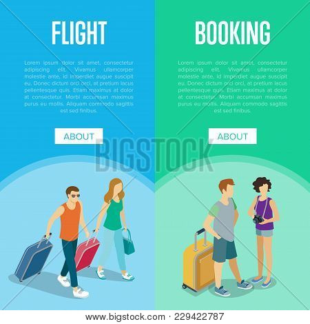 Travelling People Vertical Flyers Set. Young Tourists With Travel Bags Going And Waiting. Time To Tr