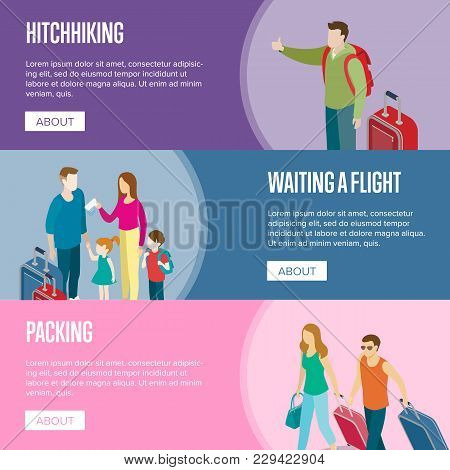 Travelling People Horizontal Flyers. Young Family With Children Waiting A Flight And Tourists With T
