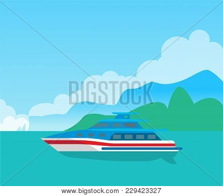 Beautiful Seascape And Cute Yacht, Color Poster, Vector Illustration With Blue And White Vessel, Lon