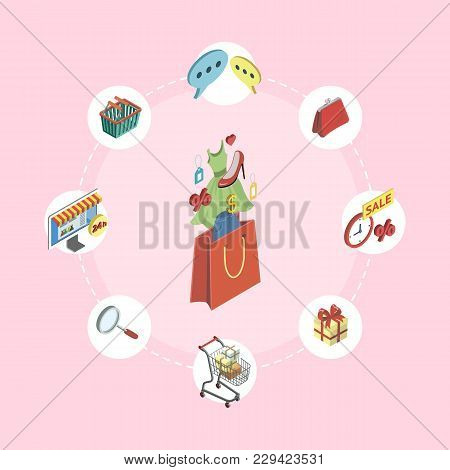 Supermarket Online Shopping Isometric Infographics With Mall Elements. Mobile Marketing And Distribu