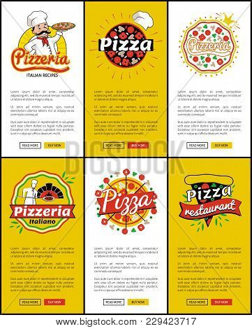 Pizzeria Italian Recipes, Pizza Restaurant, Web Sites Collection With Text And Letterings, Logotypes