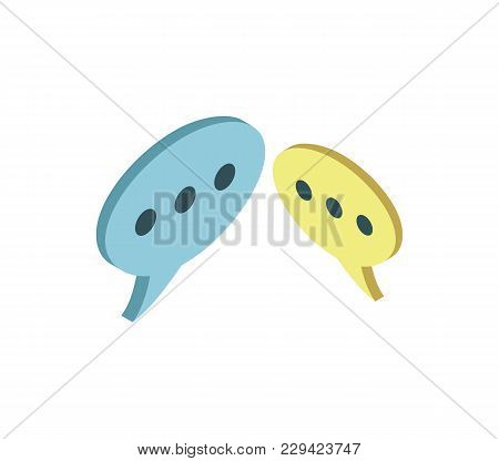 Speech Bubble Isometric 3d Icon. Online Communication And Dialog Symbol Vector Illustration.