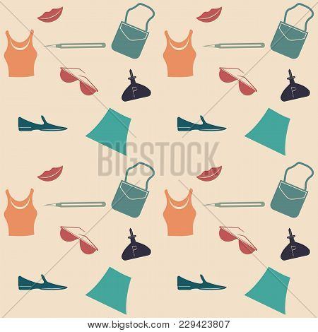 Fashion - Female - Dress, Shoes, Handbag, Lips, Glasses - Pattern On A Light Background - Art Vector