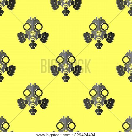 Military Gas Mask For Protection Seamless Pattern On Yellow Background. Respirator Icon Texture.