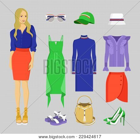Summer Mode Of Woman, Set Of Clothing, Elements For Stylish Ladies, Skirt And Blouse, Dresses And Sh