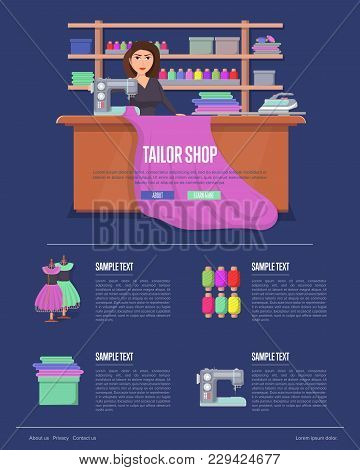 Tailor Shop Banner With Young Woman At Sewing Desk. Dressmaker Working With Sewing Machine. Premium