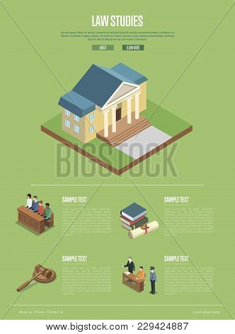 Law Studies Isometric 3d Poster With Judge Gavel, Jury Trial, Law Books, Courthouse Building And Def