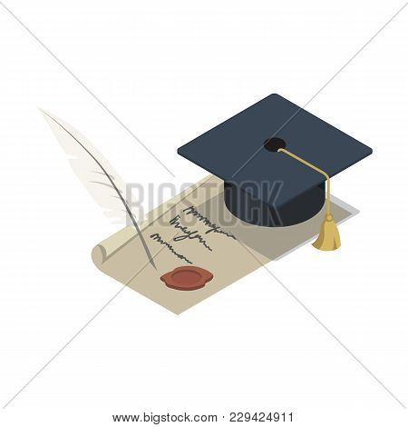 Graduation Cap With Scroll Isometric 3d Element. Law And Judgment Legal Justice Vector Illustration.