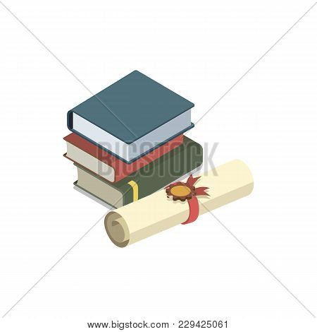 Law Books Isometric 3d Element. Law And Judgment Legal Justice Vector Illustration.