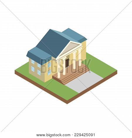 Courthouse Building Isometric 3d Element. Law And Judgment Legal Justice Vector Illustration.