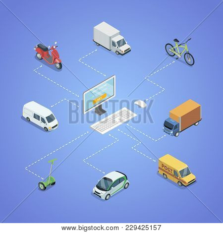 City Transport Logistics Isometric Infographics. Freight Truck, Delivery Van, Bicycle, Scooter, Smal