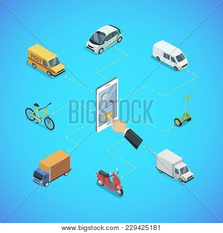City Transport Infrastructure Isometric Infographics. Freight Truck, Delivery Van, Bicycle, Scooter,