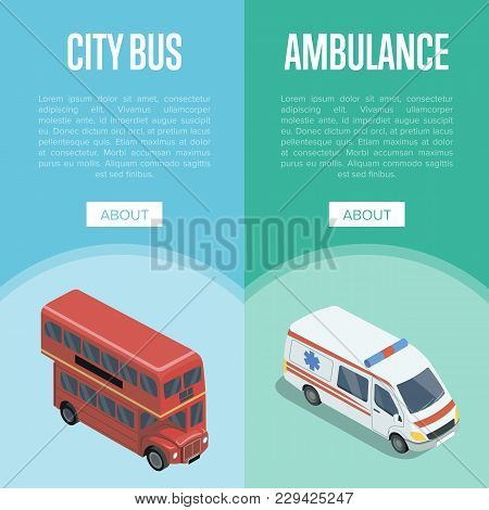 City Transport Isometric Vertical Flyers With Red Double Decker Bus And Ambulance Car. Modern Urban