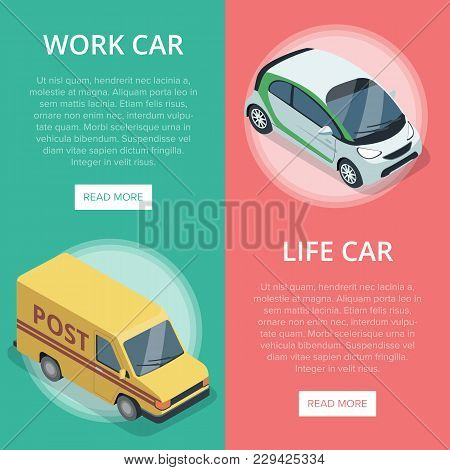 City Transport For Work And Life Isometric Vertical Flyers With Compact City Car And Delivery Van. M