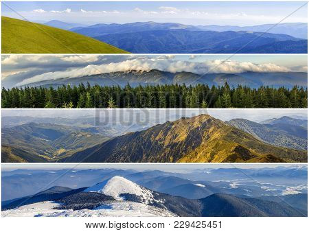Four Seasons Mountains Collage, Several Images Of Beautiful Mountain Landscapes At Different Time Of
