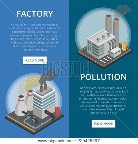 Pollution Industry Isometric Vertical Flyers. Chemical Factory Or Power Plant With Smoke Stacks. Hea